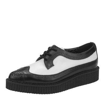 T.U.K. Shoes Pointed Black & White Leather Creeper Brogues