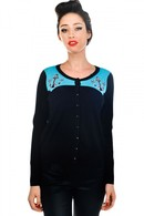 WOMEN'S EMBROIDERED CARDIGAN - SHARK
