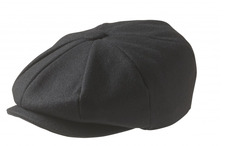 100% MELTON WOOL – BLACK NEWSBOY CAP