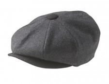 100% MELTON WOOL – GREY BLACK NEWSBOY CAP