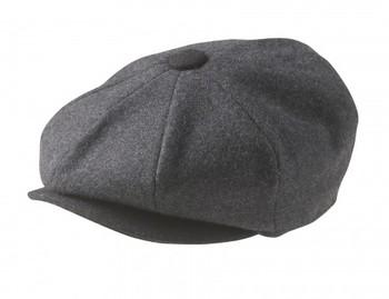 100% MELTON WOOL – GREY BLACK NEWSBOY CAP