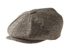100% TWEED WOOL – BIRD'S EYE BROWN NEWSBOY CAP
