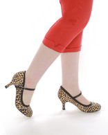 """Leopard Print 3"""" Heel 50's Style Mary Jane Shoes"""