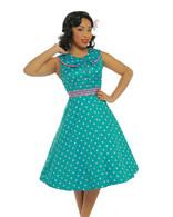 Oona' Turquoise Polka Dot Swing Dress