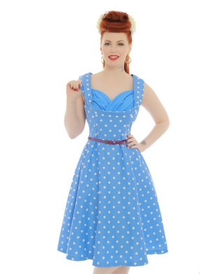 'Ophelia' Pale Blue Polka Dot Swing Dress