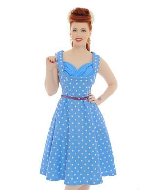 'Ophelia' Pale Blue Polka Dot Swing Dress