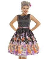 Audrey' Vintage Circus Print Black Swing Dress