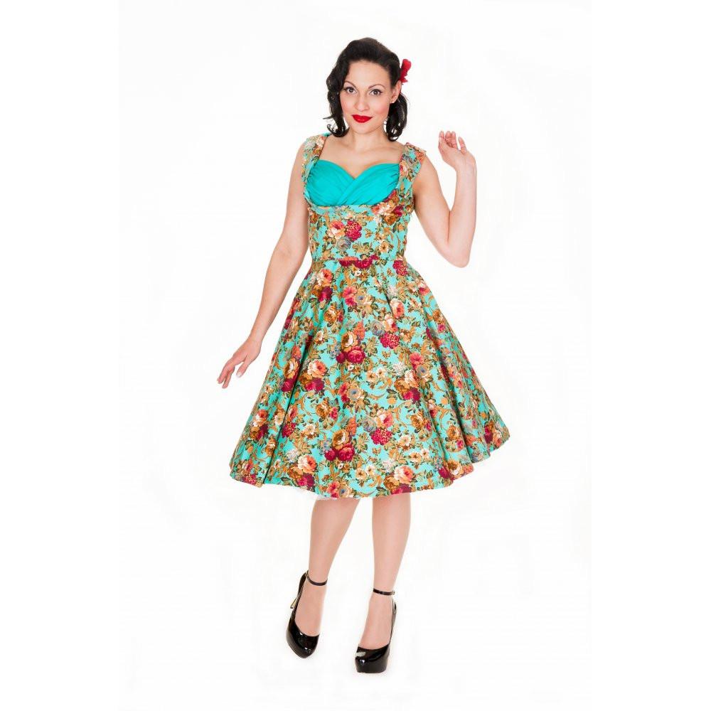 3cd3e9872d7f LINDY BOP  OPHELIA  VINTAGE 1950 s FLORAL SPRING GARDEN PARTY PICNIC DRESS  Colour Turquoise Floral